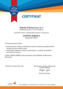 Certyfikat Lepsza szkoła