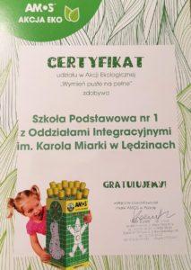 certyfikat akcja ekologiczna